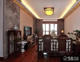 世茂运河城古典中式长方形红木家具客厅吊灯实木电视柜