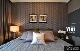现代家装卧室壁纸装修效果图