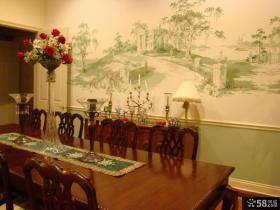 欧式餐厅壁画墙纸贴图