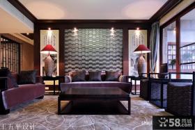 新中式风格客厅挂画背景墙效果图欣赏
