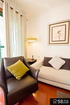 室内单人休闲真皮沙发效果图