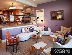 色彩清新的现代风格客厅沙发背景墙装修效果图