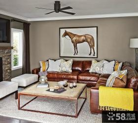 美式风格一居室客厅装修效果图欣赏大全