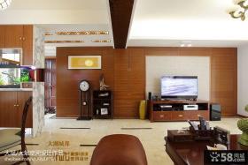 现代中式风格客厅电视机实木背景墙装饰设计