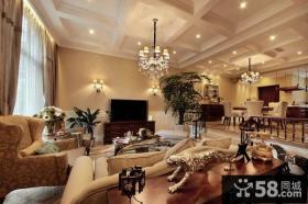 美式精装修设计客厅电视背景墙图片