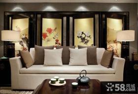 中式风格客厅沙发背景墙屏风效果图