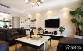 现代简约家庭客厅电视背景墙效果图