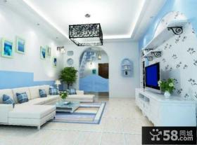 地中海装修客厅电视背景墙图片欣赏