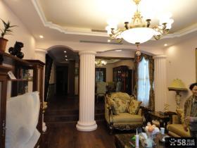 美式乡村风格复式楼客厅装修效果图