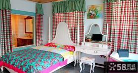 小复式田园风格卧室窗帘装修效果图大全2014图片