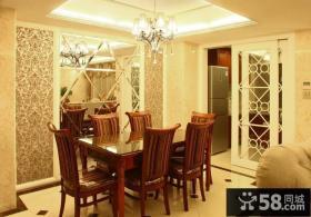 美式餐厅水晶吊顶灯装修效果图片