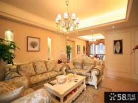 欧式田园风格客厅沙发背景墙效果图欣赏