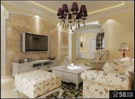 欧式田园风格客厅电视背景墙装饰设计