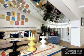 客厅镜面吊顶造型设计效果图