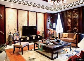 中式客厅电视背景墙效果图大全2014图片