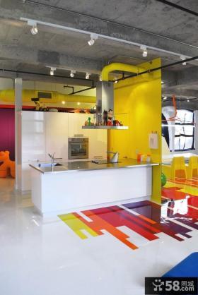 彩色开放式厨房设计效果图