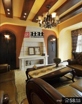 美式乡村风格客厅吊顶图片