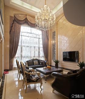 欧式新古典别墅客厅电视背景墙装修效果图