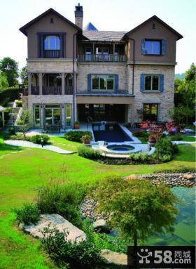 三层别墅庭院景观效果图