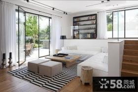 小复式白色清新的客厅装修效果图大全2014图片