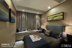 现代风格卧室飘窗窗帘装修效果图