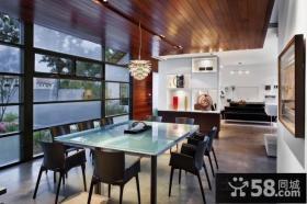 现代美式风格餐厅吊顶装修图片