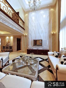 欧式别墅大客厅电视背景墙装修效果图