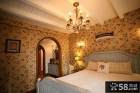 田园家装卧室壁纸装修效果图