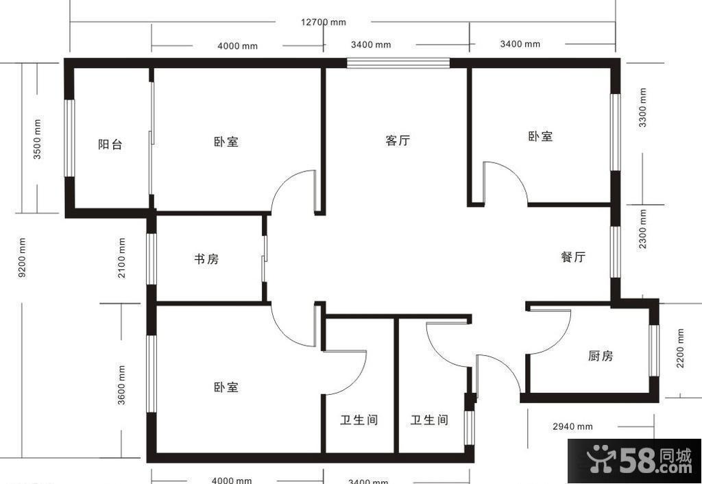 三室两厅两卫楼房平面图