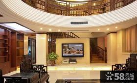 中式客厅电视背景墙隔断设计