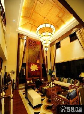 中式别墅大客厅吊顶装修效果图