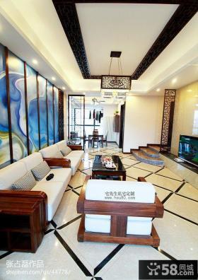 中式风格四居客厅长方形吊顶装修