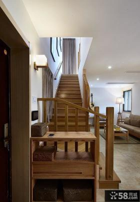 简约室内实木楼梯设计装修图片