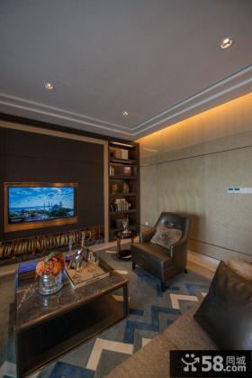 美式新古典风格客厅电视背景墙图片