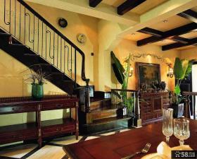 巴洛克风格别墅室内木质楼梯扶手效果图