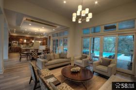 现代美式风格装修客厅效果图
