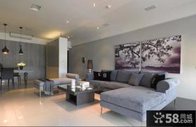 现代简约客厅沙发背景墙装饰画图片