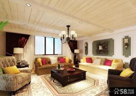美式乡村风格别墅客厅装修效果图欣赏