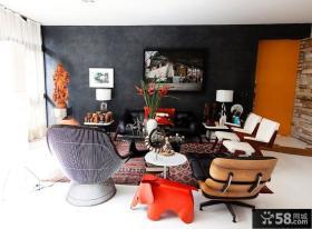 美式别墅温馨个性客厅背景墙装修效果图大全2014图片