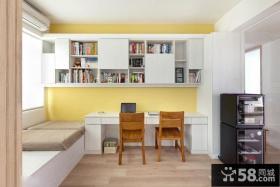 简约风格家庭大飘窗书房装修效果图