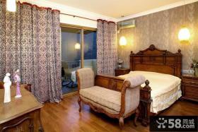 美式混搭风格别墅卧室窗帘效果图