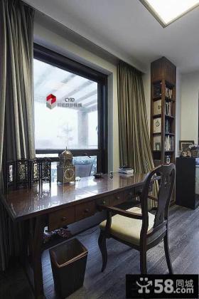 美式风格书房实木桌椅图片