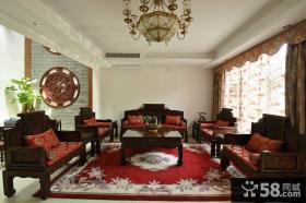 中式风格客厅实木家具摆放效果图片