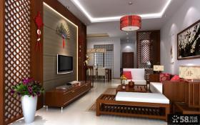 中式客厅电视背景墙装修效果图片欣赏