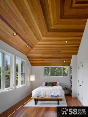 别墅卧室桑拿板吊顶效果图