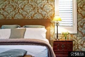 印花卧室墙纸装修效果图大全2013图片