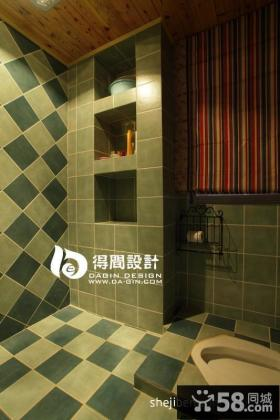 美式乡村风格卫生间瓷砖效果图