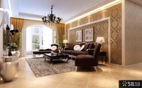 家装欧式客厅沙发壁纸背景墙