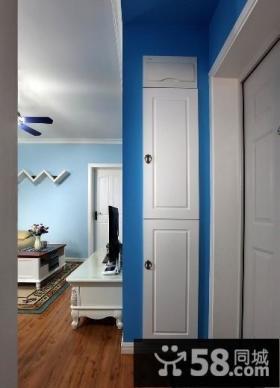 地中海风格50平米小户型白色玄关柜图片