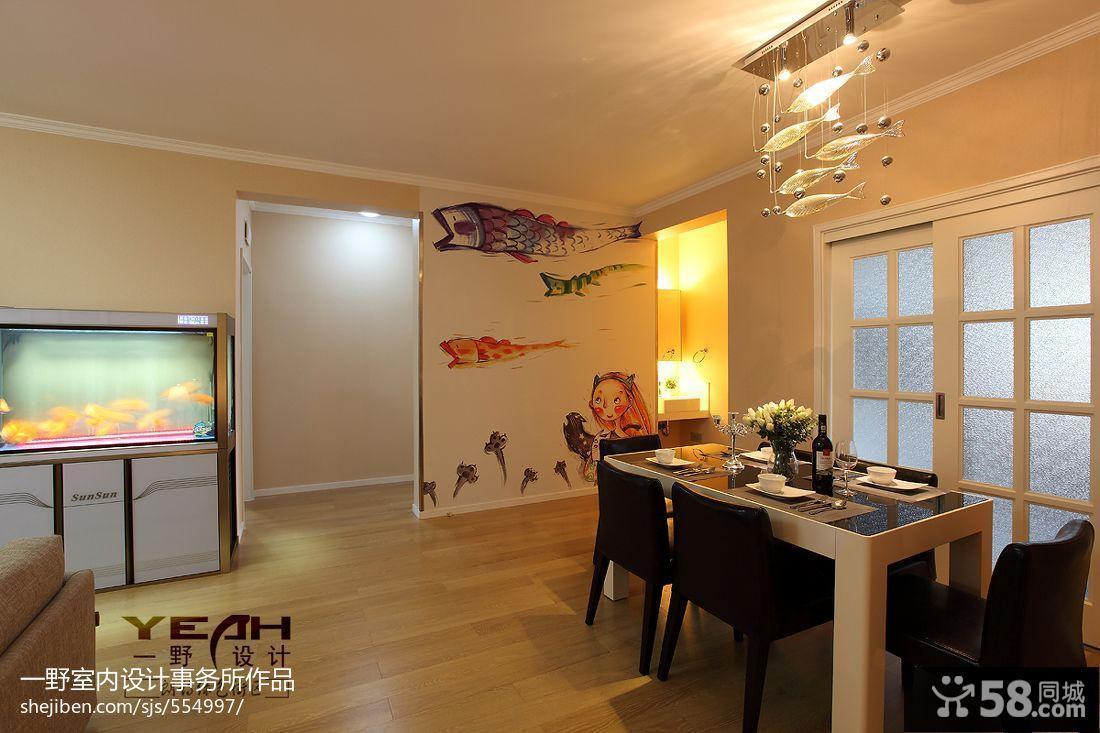 家装室内餐厅手绘背景墙设计效果图